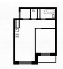 ЖК «Союзный», планировка 1-комнатной квартиры, 44.80 м²