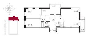 ЖК «Свой», планировка 4-комнатной квартиры, 112.40 м²