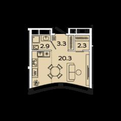 МФК «Ленинский 38», планировка студии, 29.20 м²