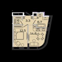 МФК «Ленинский 38», планировка 1-комнатной квартиры, 40.10 м²