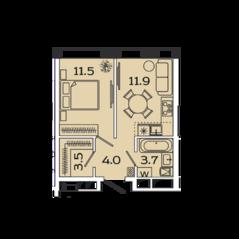 МФК «Ленинский 38», планировка 1-комнатной квартиры, 34.60 м²