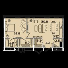 МФК «Ленинский 38», планировка 2-комнатной квартиры, 70.60 м²