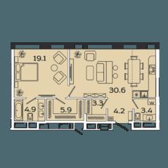 МФК «Ленинский 38», планировка 2-комнатной квартиры, 71.40 м²