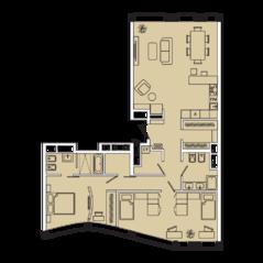МФК «Ленинский 38», планировка 3-комнатной квартиры, 111.10 м²