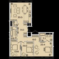 МФК «Ленинский 38», планировка 4-комнатной квартиры, 120.00 м²