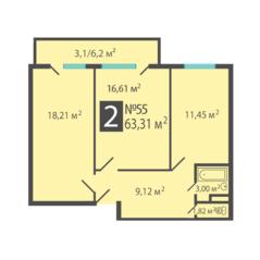 МЖК «Петровский квартал» (Лосино-Петровский), планировка 2-комнатной квартиры, 63.31 м²