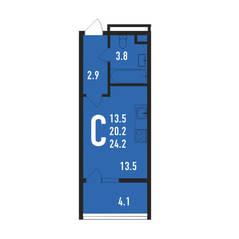 ЖК «Ивантеевка 2020», планировка студии, 24.20 м²
