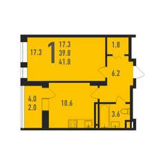 ЖК «Ивантеевка 2020», планировка 1-комнатной квартиры, 41.80 м²