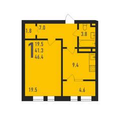 ЖК «Ивантеевка 2020», планировка 1-комнатной квартиры, 46.40 м²