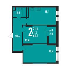 ЖК «Ивантеевка 2020», планировка 2-комнатной квартиры, 63.20 м²