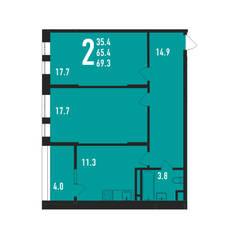 ЖК «Ивантеевка 2020», планировка 2-комнатной квартиры, 69.30 м²