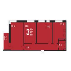 ЖК «Ивантеевка 2020», планировка 3-комнатной квартиры, 85.50 м²