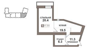 ЖК «Нагорная 7», планировка 1-комнатной квартиры, 57.50 м²