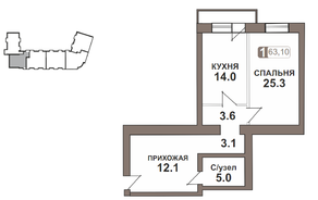 ЖК «Нагорная 7», планировка 1-комнатной квартиры, 63.10 м²