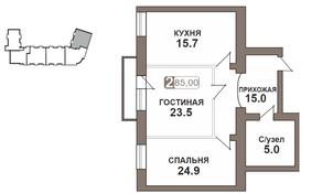 ЖК «Нагорная 7», планировка 2-комнатной квартиры, 85.00 м²