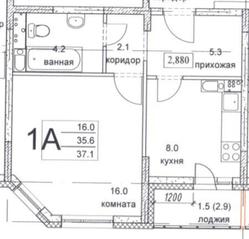 ЖК «Олимпийский», планировка 1-комнатной квартиры, 37.10 м²