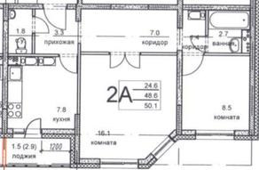 ЖК «Олимпийский», планировка 2-комнатной квартиры, 50.10 м²