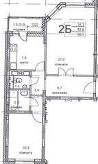 ЖК «Олимпийский», планировка 2-комнатной квартиры, 55.10 м²