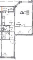 ЖК «Олимпийский», планировка 2-комнатной квартиры, 55.40 м²