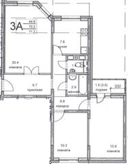 ЖК «Олимпийский», планировка 3-комнатной квартиры, 71.70 м²