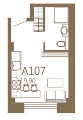 МЖК «MOS YARD Дубининская», планировка студии, 19.90 м²