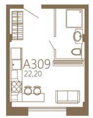 МЖК «MOS YARD Дубининская», планировка студии, 22.20 м²