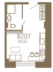МЖК «MOS YARD Дубининская», планировка студии, 24.50 м²