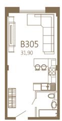 МЖК «MOS YARD Дубининская», планировка студии, 31.90 м²