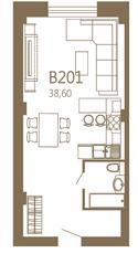 МЖК «MOS YARD Дубининская», планировка студии, 38.60 м²