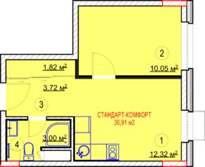 МФК «Nova Алексеевская», планировка 1-комнатной квартиры, 30.91 м²