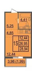 ЖК «Лыткарино Хит», планировка студии, 28.94 м²