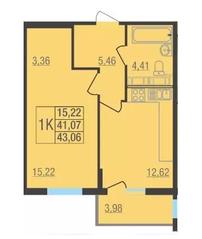 ЖК «Лыткарино Хит», планировка 1-комнатной квартиры, 43.03 м²