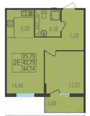 ЖК «Лыткарино Хит», планировка 2-комнатной квартиры, 44.74 м²