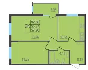 ЖК «Лыткарино Хит», планировка 2-комнатной квартиры, 57.26 м²