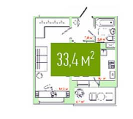 ЖК «Весна» (Кириши), планировка 1-комнатной квартиры, 33.40 м²