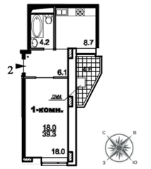 ЖК «Единый стандарт», планировка 1-комнатной квартиры, 39.10 м²