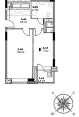 ЖК «Единый стандарт», планировка 1-комнатной квартиры, 46.70 м²