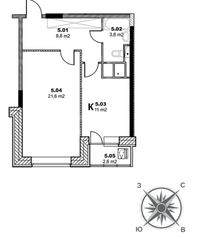 ЖК «Единый стандарт», планировка 1-комнатной квартиры, 47.50 м²