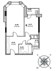 ЖК «Единый стандарт», планировка 1-комнатной квартиры, 51.90 м²