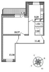 ЖК «Единый стандарт», планировка 2-комнатной квартиры, 59.39 м²