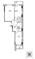 ЖК «Единый стандарт», планировка 2-комнатной квартиры, 79.70 м²