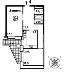 ЖК «Единый стандарт», планировка 2-комнатной квартиры, 63.10 м²