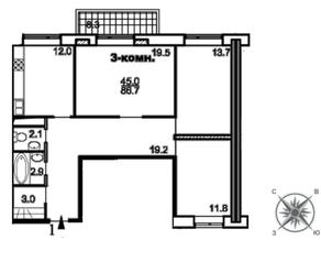 ЖК «Единый стандарт», планировка 3-комнатной квартиры, 86.30 м²