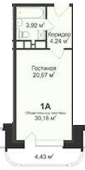 ЖК «Майданово Парк», планировка студии, 30.16 м²