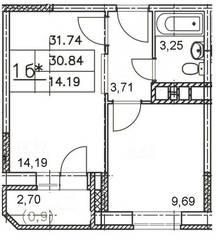 ЖК «Майданово Парк», планировка 1-комнатной квартиры, 31.74 м²