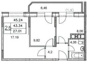 ЖК «Майданово Парк», планировка 2-комнатной квартиры, 45.24 м²