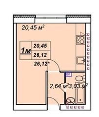 ЖК «У пруда», планировка студии, 26.12 м²