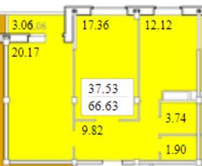 ЖК «Черемушки (Вербилки)», планировка 2-комнатной квартиры, 66.63 м²