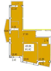 ЖК «Черемушки (Вербилки)», планировка 3-комнатной квартиры, 91.92 м²