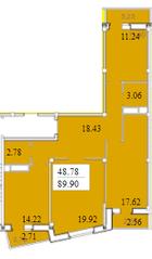 ЖК «Черемушки (Вербилки)», планировка 3-комнатной квартиры, 89.91 м²
